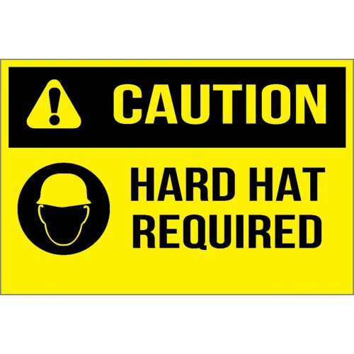 Caution - Hard Hat Required Sign