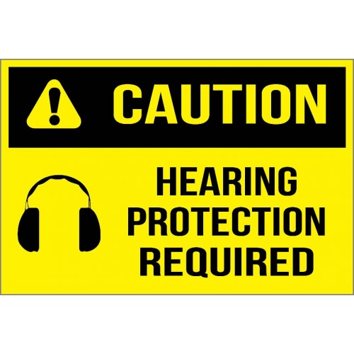 Caution - Hearing Protection Required Sign